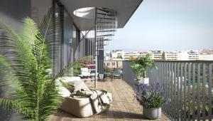 Balkon mit Aufgang Dachterrasse